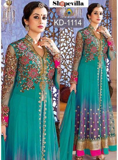 Turquoise Blue Net Heavy Designer Anarkali Churidar Kameez-KD-1114