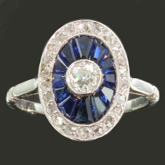 Art Deco Ring  Blue sapphire engagement by adinantiquejewellery  needs aquamarine
