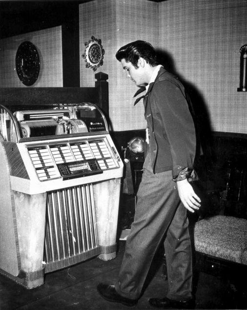 Elvis at the Jukebox 1957 by Railroad Jack, via Flickr