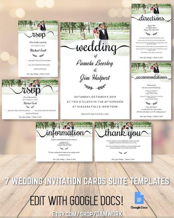 Wedding Invitation Cards Template Set Suite Package 5x7 3 5x5 Etsy Wedding Invitation Card Template Wedding Invitation Cards Wedding Invitations