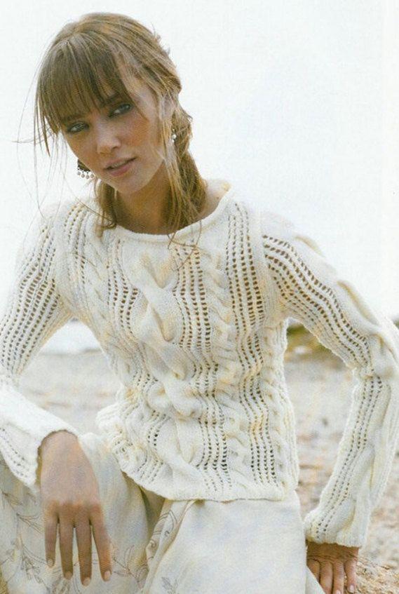 Hand Knitting Patterns For Women : Hand knit sweater mohair custom made coat aran women s