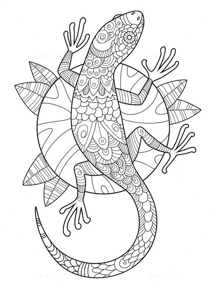 Lizard Coloring Sheet : lizard, coloring, sheet, Printable, Lizard, Coloring, Pages, (PDF), Sheets, Mandala, Pages,, Antistress, Coloring,, Books