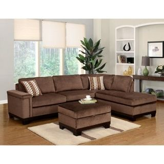 LYKE Home Opal Reversible Brown Sectional   Free Shipping Today    Overstock.com   18352082
