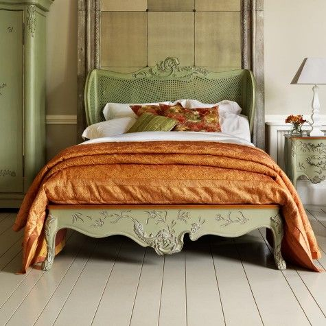 And So To Bed: hand painted floral caned bed, for luxury sleeping.