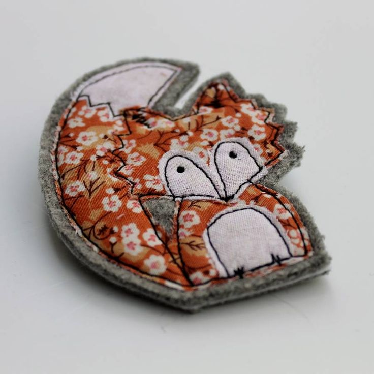 embroidered fabric fox brooch by honeypips | notonthehighstreet.com