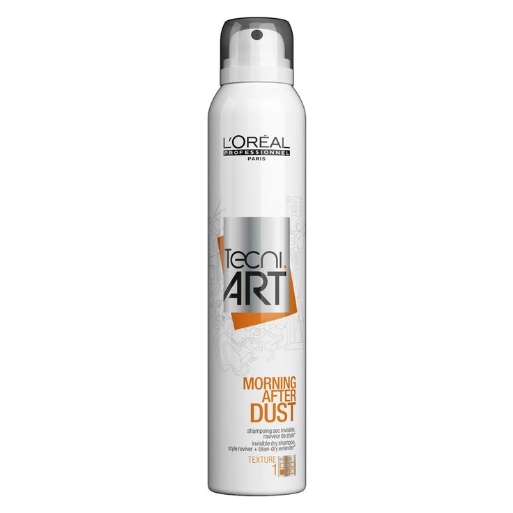 NEW| L'Oréal Professionnel Morning After Dust  The 1st professional invisible dry shampoo that will revive your hairstyle and release a delicious perfume scent for up to 24 hours. It's backstage-proof formula ensures long-lasting freshness, with no residue, and its formula with 0% alcohol protects from irritation.