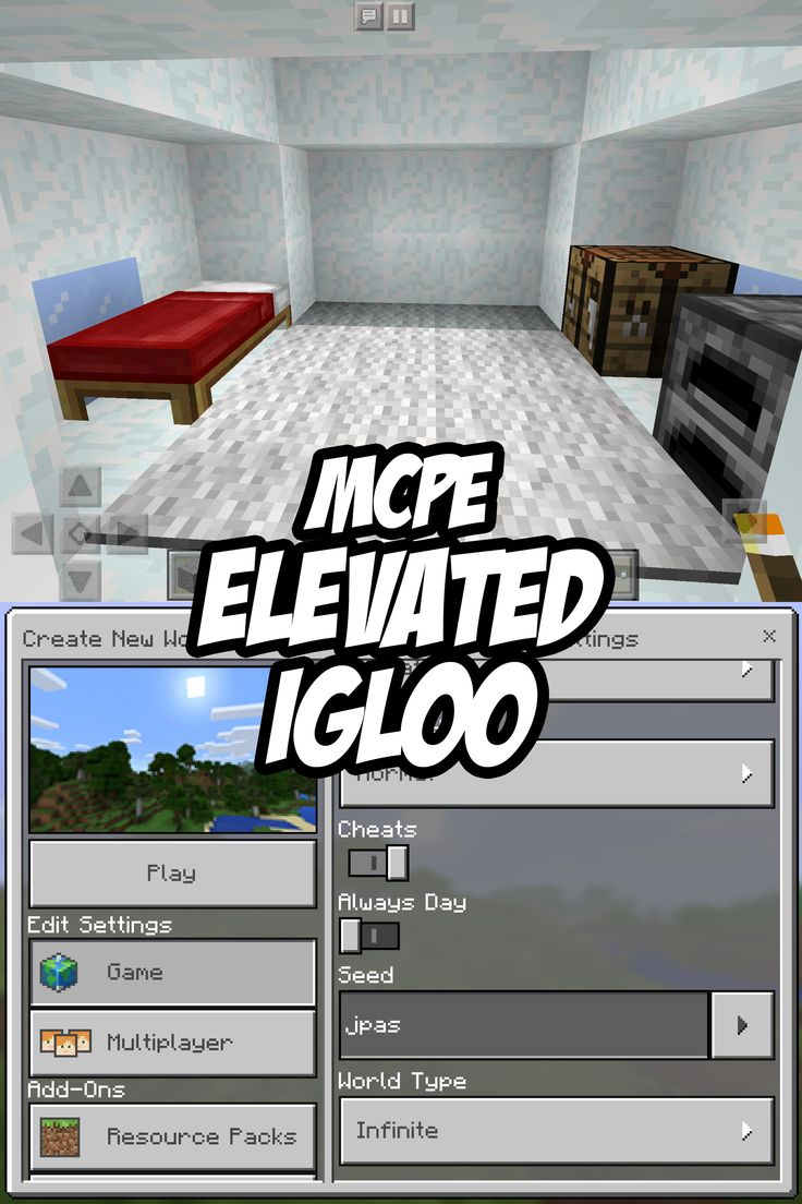 Check out the igloo's foundation?! Minecraft PE Igloo Seed: jpas