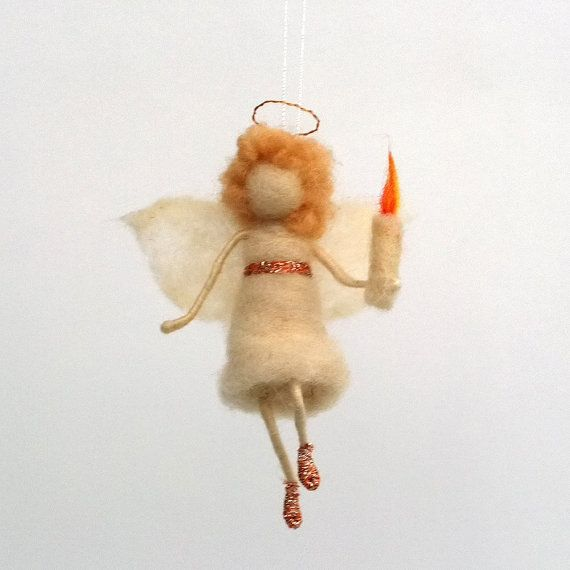 Angel ornament Christmas figurine felt fairy Hanging Baptism gift christening baby Christmas doll Angel candle Wool Waldorf eco friendly