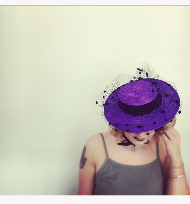 Purple straw boater by RachelHenryMillinery on Etsy