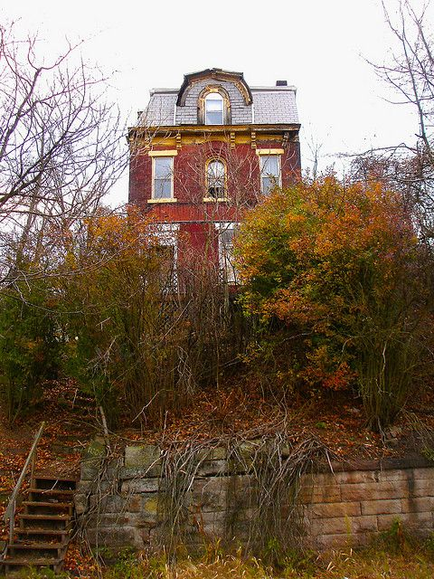 """McKeesport, PA  On Jenny Lind Ave, near 10th Ave.  Like many cities, the beautiful, old homes that were the core of cities when they were """"new"""" have been abandoned or torn down. McKeesport now has entire blocks that have only a couple of houses left standing."""