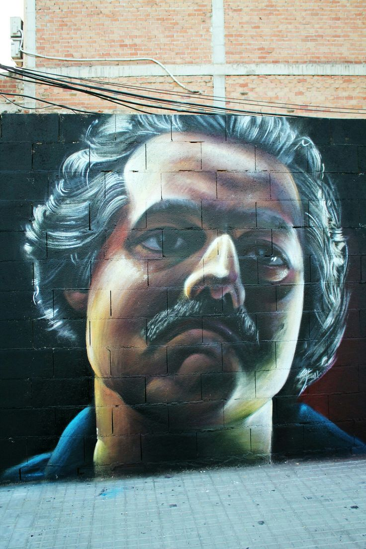 Pablo Escobar in Narcos  Spray paint on wall