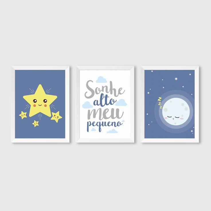 Trio de quadros personalizados. Estrelas, lua a frase.