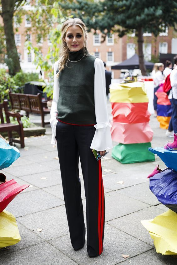athletic side stripe, wide leg trousers and bell sleeves!?! two hot spring 2017 trends in one