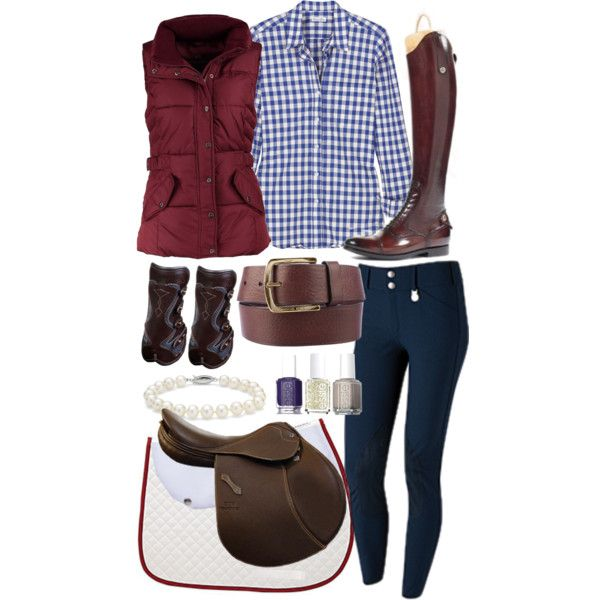 """Haha!  I love that nail Polish is included with a riding outfit!  What rider can keep their nails nice?  """"Navy & Burgandy"""" by ashlyn-pease on Polyvore"""