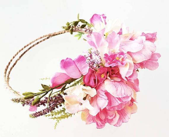 Halo style crown, made with a mix of artificial parrot tulips, and magenta/pink artificial meadow flowers with artificial lavender flowers. Made on rustic wire (covered wire) which is flexible and will fit to the shape of your head. It can be worn with the flowers to the back, side