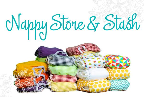 Cloth nappy stashes and storage ideas.