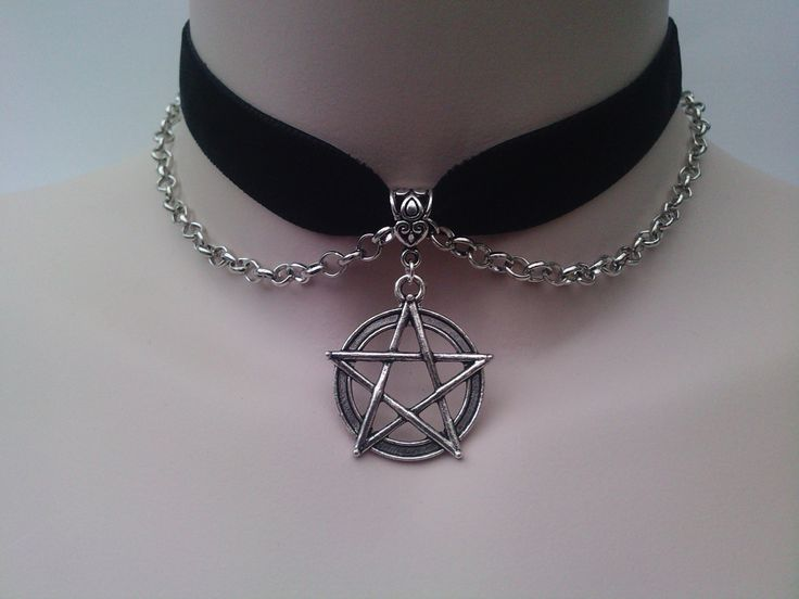 pentagram pentacle charm large with chain black