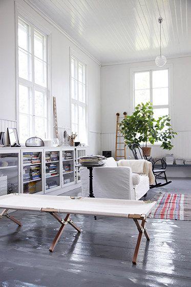 White Living, White Spaces, Livingroom, Interiors Design, Living Room, Painting Floors, High Ceilings, White Wall, Painted Floors