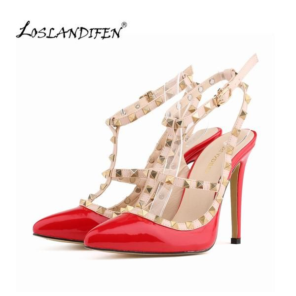 Buy Fashion rivets shoes highheeled pointed toe hasp thin heels sandals  rivet valentin pointed toe shoes female sandals on AliExpress