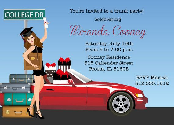 Graduation Trunk Party Invitations  Printable by AnnounceItFavors