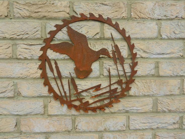 Duck Circular Saw blade Garden Art / Rusty Metal Garden Art / Duck Gift / Duck Wall Art / Duck Metal Art / Farm duck pond scene by RustyRoosterMetalArt on Etsy