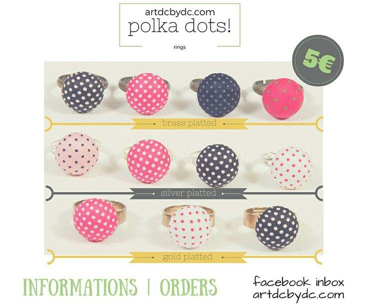 polka dots button rings at artdcbydc.com