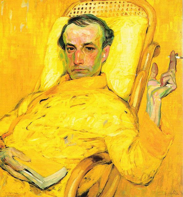 The Yellow Scale by Franz Kupka (1871-1957) a Czech avant-garde painter who lived in Paris.  The man in yellow is Charles Baudelaire.