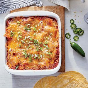 We skip the time-consuming task of rolling each enchilada in favor of a layered casserole approach. With 29 grams of protein, these...