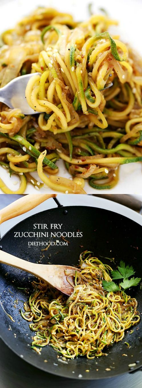 Stir Fry Zucchini Noodles – Delicious, low-carb, healthy Stir Fry made with spiralized zucchini and onions tossed with teriyaki sauce and toasted sesame seeds.