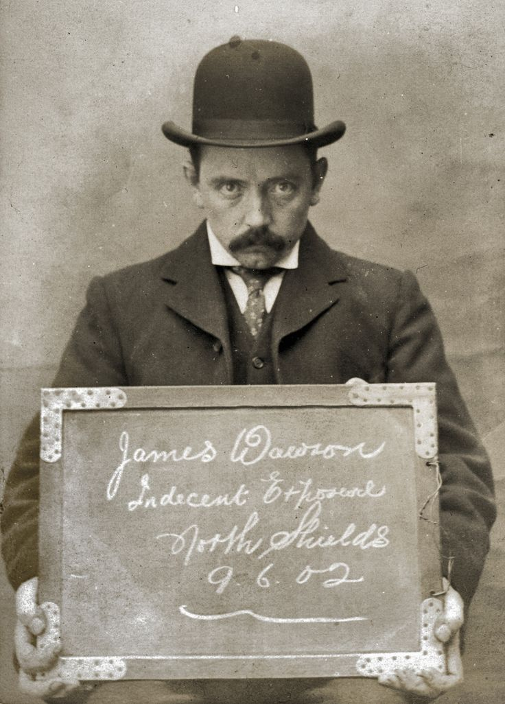 """James Dawson, arrested for Indecent Exposure. North Shields Police Station, 9th June 1902."""