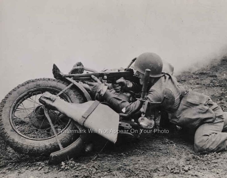 Vintage WW2 Harley Davidson WLA 45 Motorcycle Army G I Soldier Machine Gun Photo | eBay