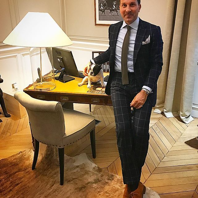 IG: alexander.kraft: Our new broker at our Paris Ouest office knows how to seduce the CEO... good thing Bertie is not there to see the shameless seductress in action... #instadog #dog #cute #instagood #picoftheday #paris #office #sothebysrealty #gentleman #dapper #dandy #fashion #menstyle