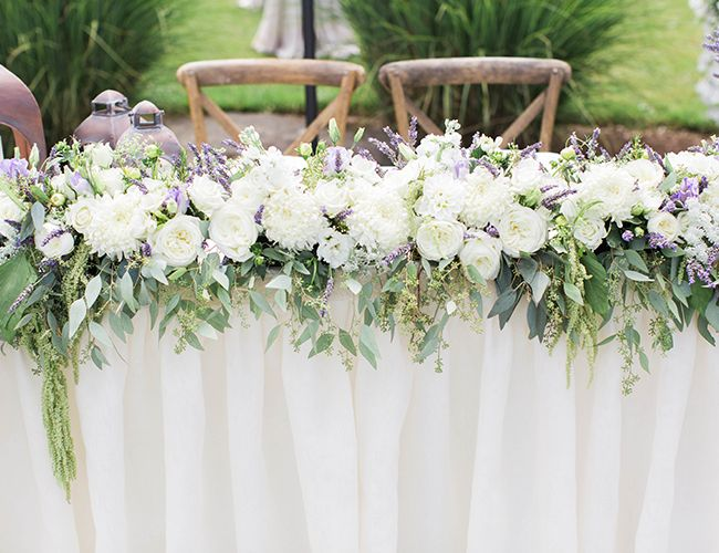 Purple and White Estate Wedding // garland with eucalyptus + peonies + roses