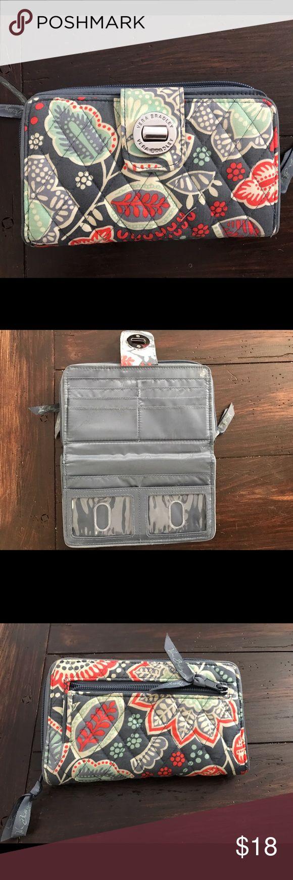 Vera Bradley Turn Lock Wallet GUC wallet in Nomadic Floral pattern. Plenty of space! Vera Bradley Bags Wallets