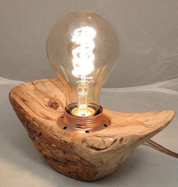 Lampada In Legno Naturale Con Lampadina Led E27 Effetto Vintage Luminaria Candeeiros Abajur