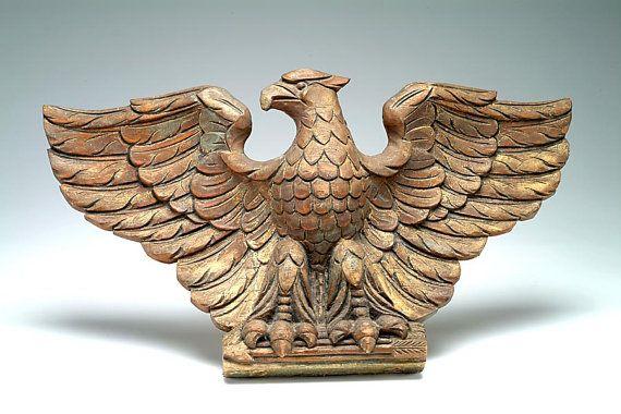 frammento di mano intagliato American Eagle FOLK ART 19 c.: vernice originale…