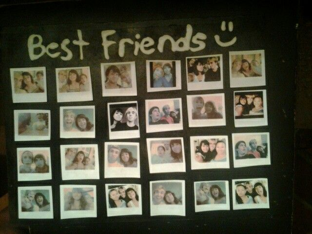 "Probably the cutest gift i've ever made!! Here are the steps, take any pictures you have of you and your friends and paste them small onto a word document then print them out on photo paper, then cut them out to look like mini polaroid pictures and glue them to a poster board of your choice, you can add text like ""best friends"" to it and get as creative as you want, then frame it if necessary and it makes a great christmas or birthday gift!! :) Leave a comment if you have any questions!!!"