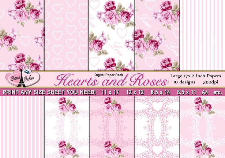 """10 Pink Rose Papers, Floral Paper Pack, Hearts, Lace,  17 x 12"""", Scrapbook Paper 12 x 12,  11 x 17, Digital Background Paper by DetourDuJour on Etsy"""