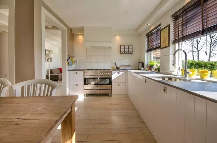 A clean, decluttered kitchen with clear kitchen ...