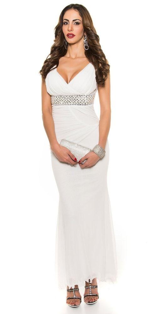 Bílé dlouhé večerní šaty