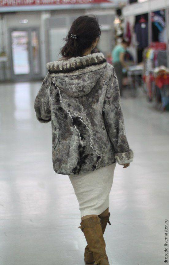 Купить Парка - серебряный, орнамент, жакет, куртка женская, парка, Валяние…