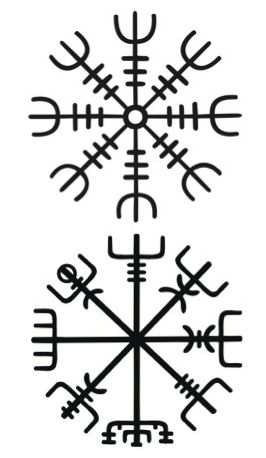 "Ok- vegvisir and the helm of awe stacked, ~3-4"" long on my ribs. Finally, an idea that doesn't clash with my other ink!"