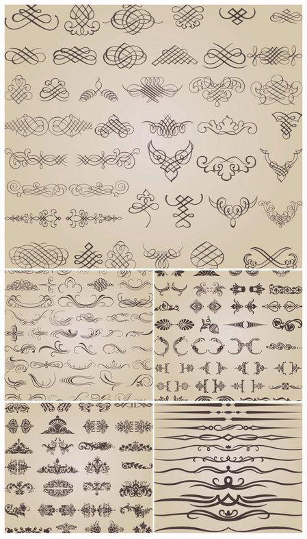decoration ornaments vector thumb 450x787 2666 実用的なベクターデータ(飾り罫・飾り枠・装飾)の豪華詰め合わせ! Free Style