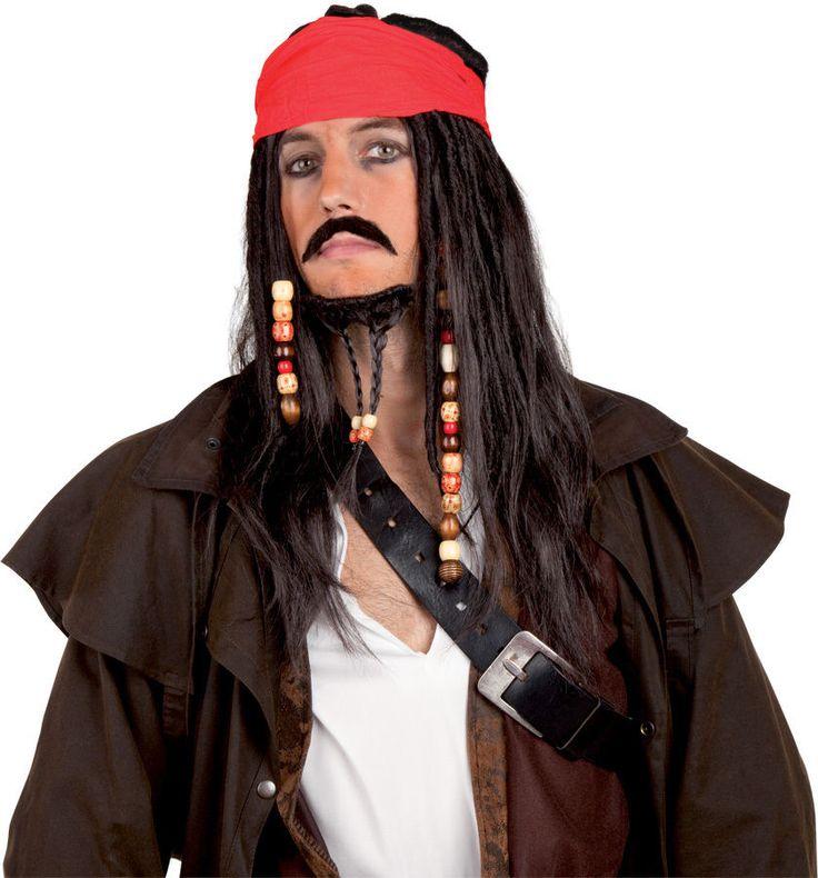 Perruque Carnaval Film Jack le Pirate bandana perles barbe moustache adulte