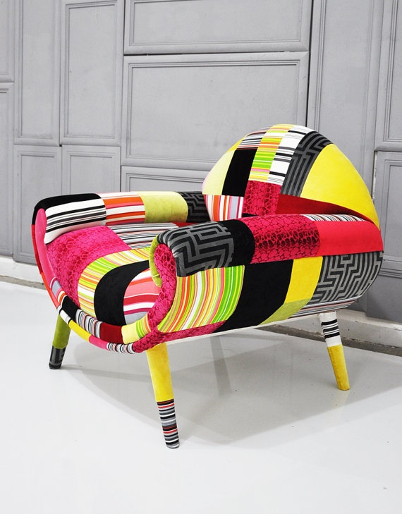 Smiley patchwork armchair by namedesignstudio design by for Funky armchairs