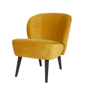 WOOOD fauteuil Sara fluweel okergeel | Fauteuils | Banken & fauteuils | Meubelen | KARWEI