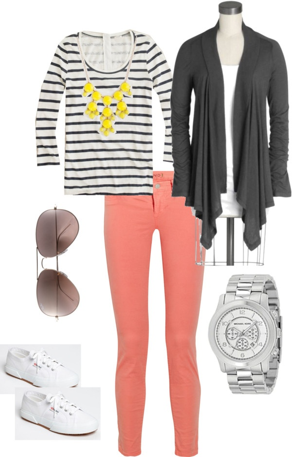 """""""Coral jeans"""" by chic-mom ❤ liked on Polyvore"""
