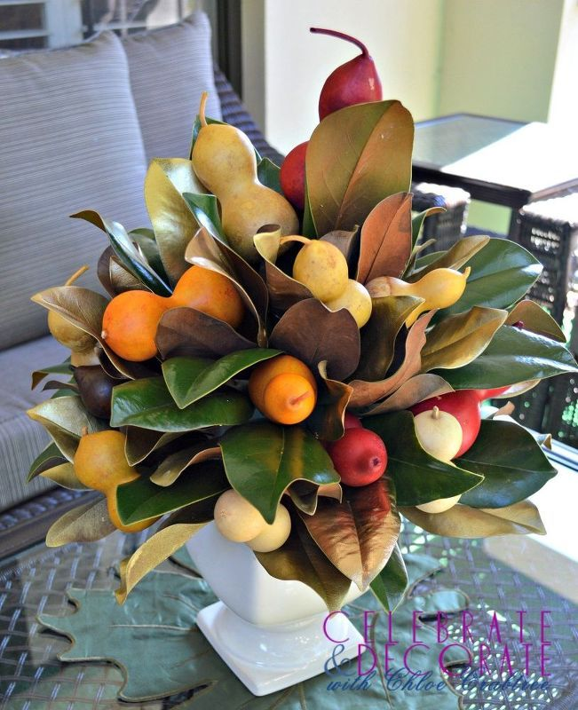 how to make a fall centerpiece with magnolia leaves, home decor, how to, seasonal holiday decor