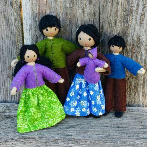 Dollhouse Family - Dollhouse Dolls - Waldorf Dollhouse - Bendy Doll - Tan skin - Dollhouse People - Dollhouse Doll -