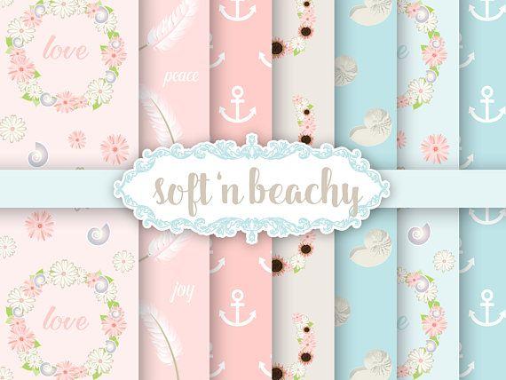 Beach Shells Wreath Paper Digital Download Soft Pastels